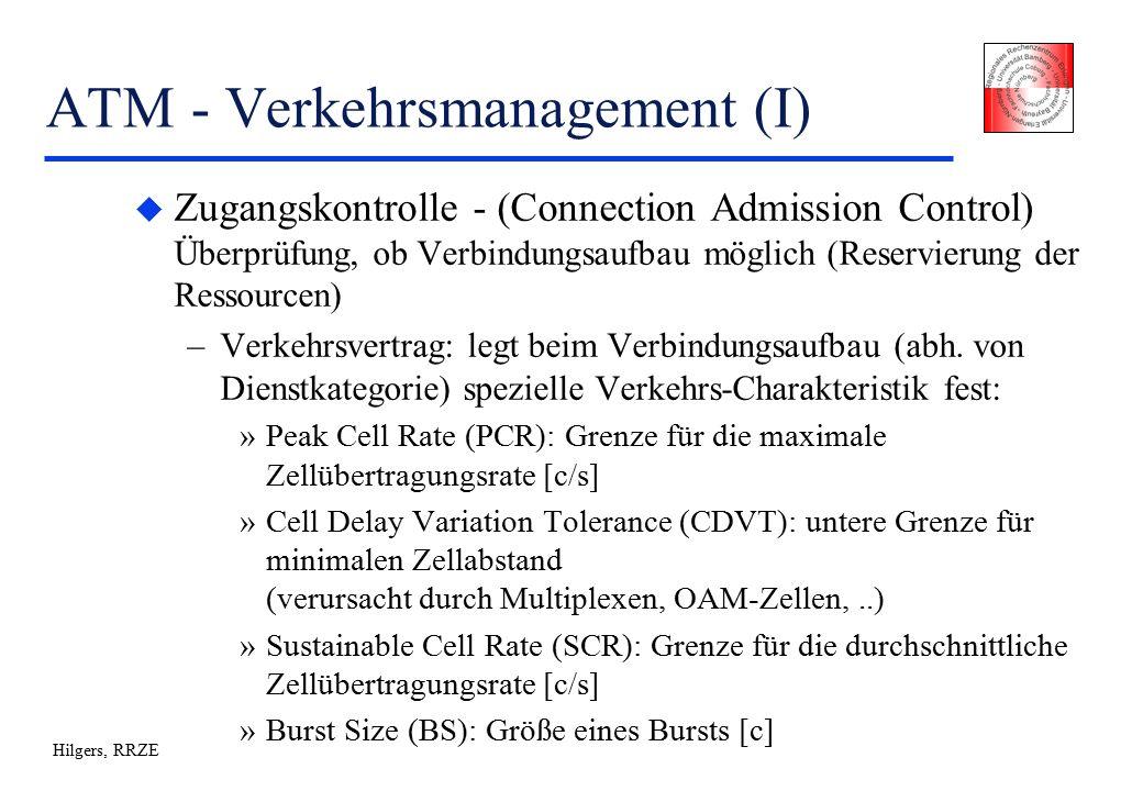 Hilgers, RRZE ATM - Verkehrsmanagement (I) u Zugangskontrolle - (Connection Admission Control) Überprüfung, ob Verbindungsaufbau möglich (Reservierung der Ressourcen) –Verkehrsvertrag: legt beim Verbindungsaufbau (abh.