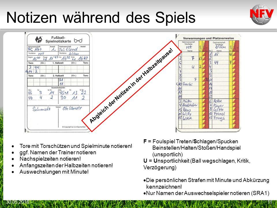 Notizen während des Spiels 30.05.201611 F = Foulspiel Treten/Schlagen/Spucken Beinstellen/Halten/Stoßen/Handspiel (unsportlich) U = Unsportlichkeit (B