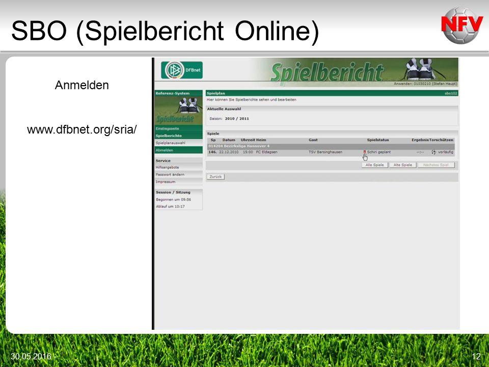 SBO (Spielbericht Online) 30.05.201612 Anmelden www.dfbnet.org/sria/