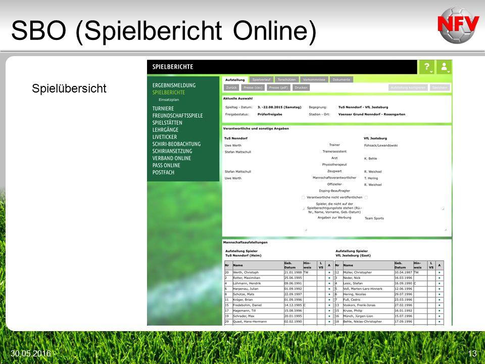 SBO (Spielbericht Online) 30.05.201613 Spielübersicht
