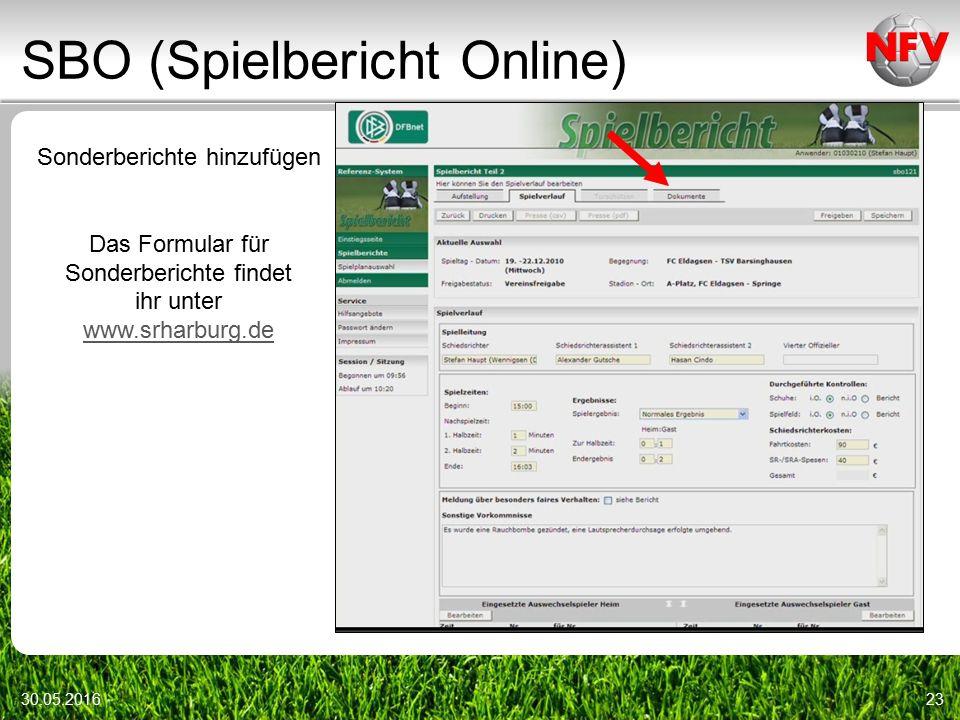 SBO (Spielbericht Online) 30.05.201623 Sonderberichte hinzufügen Das Formular für Sonderberichte findet ihr unter www.srharburg.de