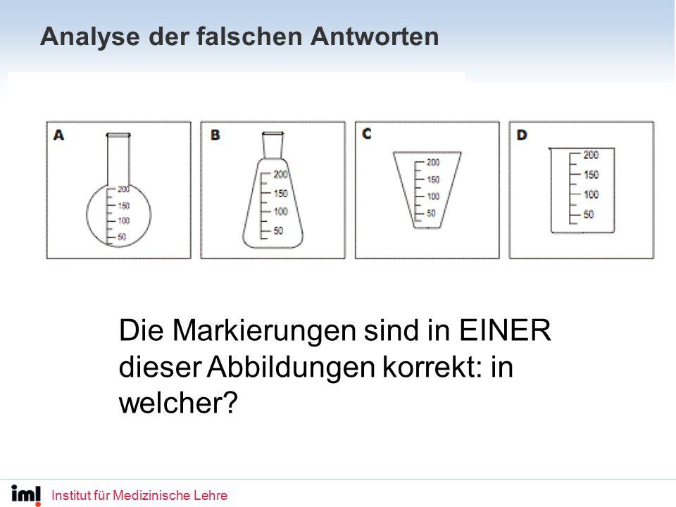 Institut für Medizinische Lehre Analyse der falschen Antworten Die Markierungen sind in EINER dieser Abbildungen korrekt: in welcher