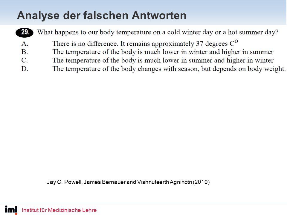 Institut für Medizinische Lehre Analyse der falschen Antworten Jay C.