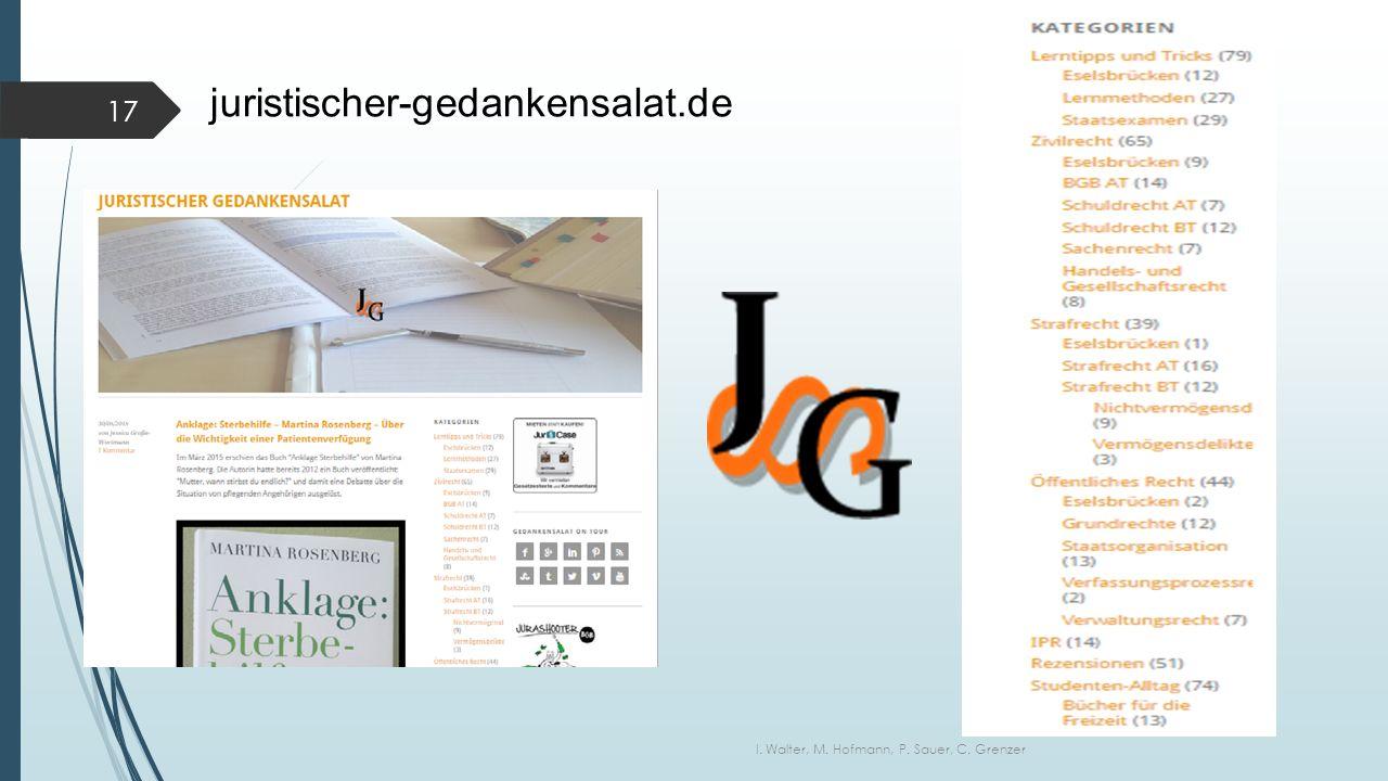 juristischer-gedankensalat.de I. Walter, M. Hofmann, P. Sauer, C. Grenzer 17