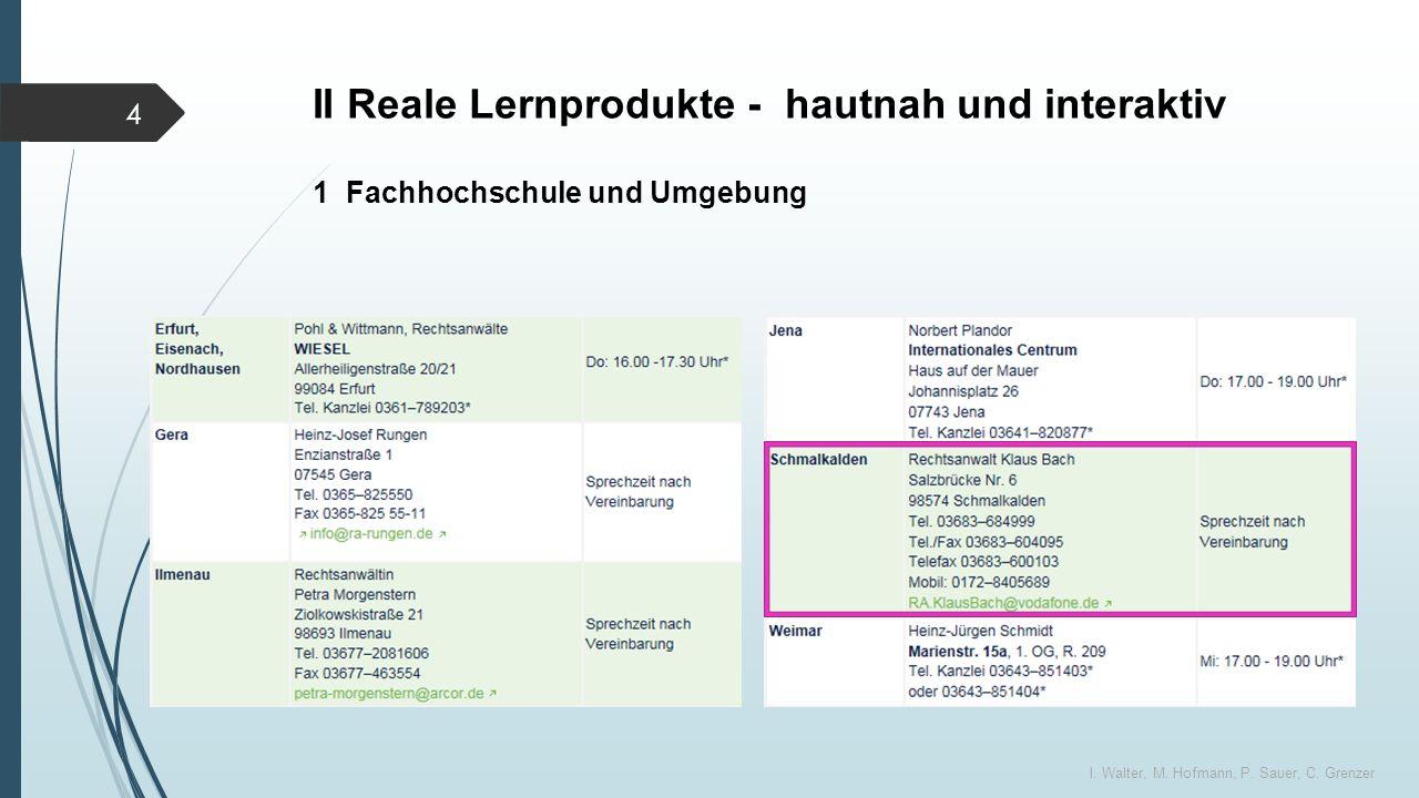 II Reale Lernprodukte - hautnah und interaktiv I. Walter, M.