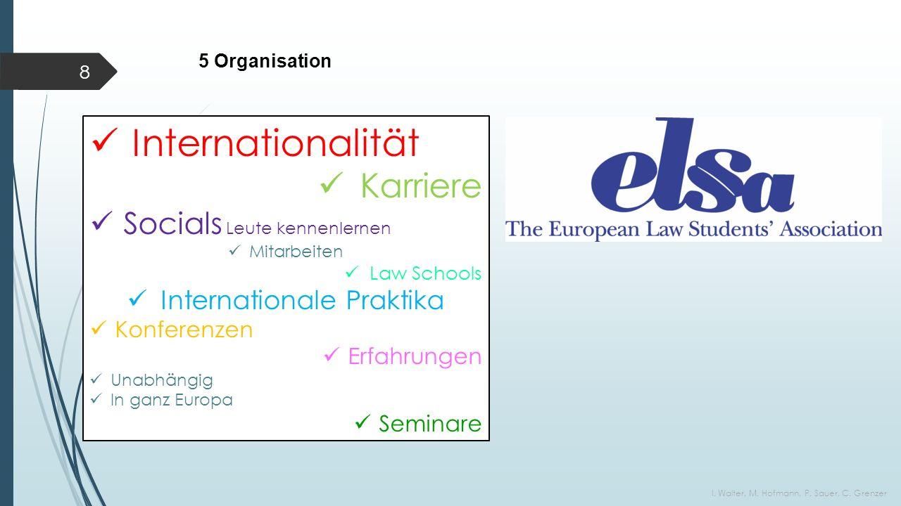 5 Organisation I. Walter, M. Hofmann, P. Sauer, C.
