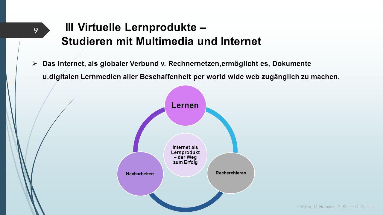 III Virtuelle Lernprodukte – Studieren mit Multimedia und Internet  Das Internet, als globaler Verbund v.