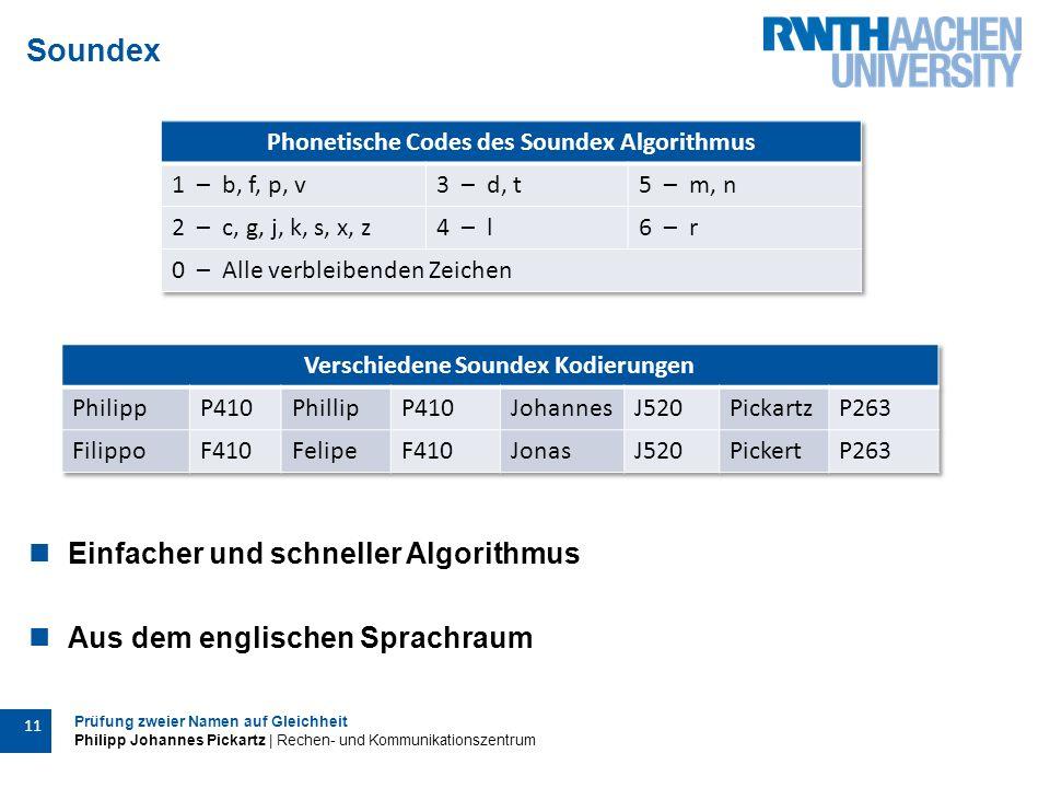 Prüfung zweier Namen auf Gleichheit Philipp Johannes Pickartz | Rechen- und Kommunikationszentrum 11 Soundex Einfacher und schneller Algorithmus Aus dem englischen Sprachraum