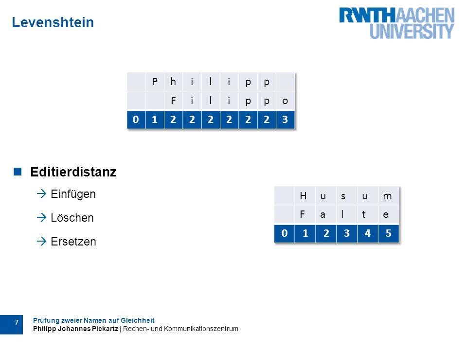 Prüfung zweier Namen auf Gleichheit Philipp Johannes Pickartz | Rechen- und Kommunikationszentrum 7 Levenshtein Editierdistanz  Einfügen  Löschen  Ersetzen