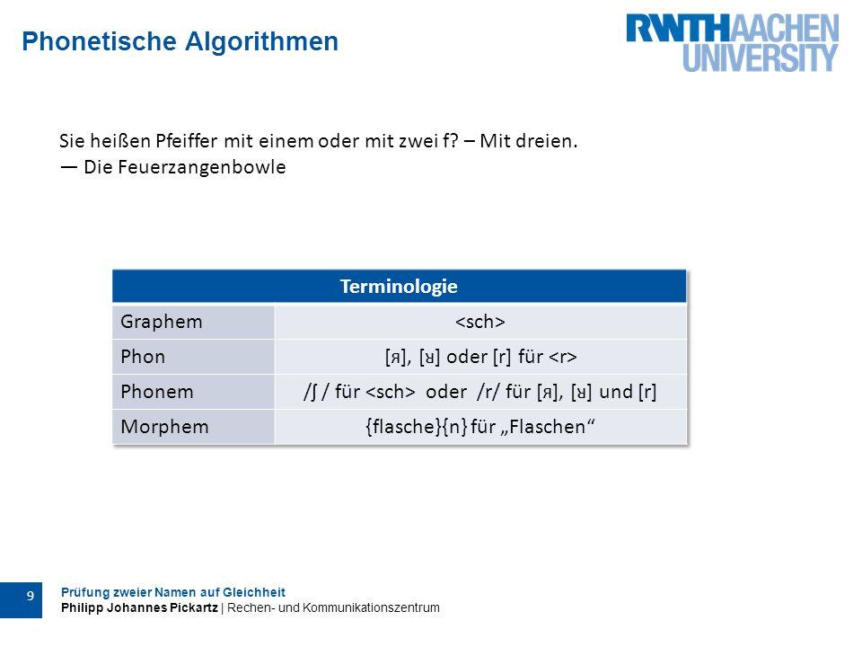 Prüfung zweier Namen auf Gleichheit Philipp Johannes Pickartz | Rechen- und Kommunikationszentrum 10 Aussprache von Graphemen