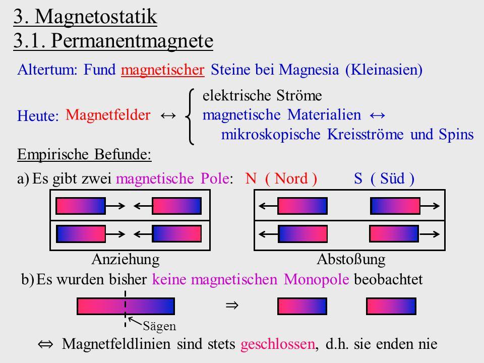 3. Magnetostatik 3.1. Permanentmagnete Altertum: Fund magnetischer Steine bei Magnesia (Kleinasien) Heute: Magnetfelder ↔ elektrische Ströme magnetisc