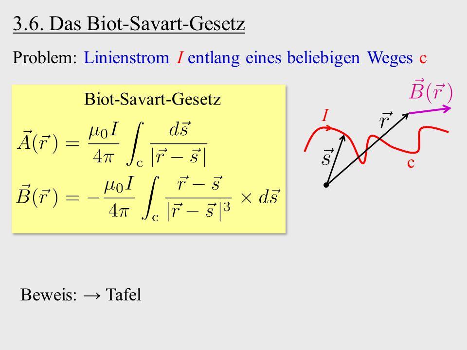 Biot-Savart-Gesetz Problem: Linienstrom I entlang eines beliebigen Weges c 3.6. Das Biot-Savart-Gesetz I c Beweis: → Tafel
