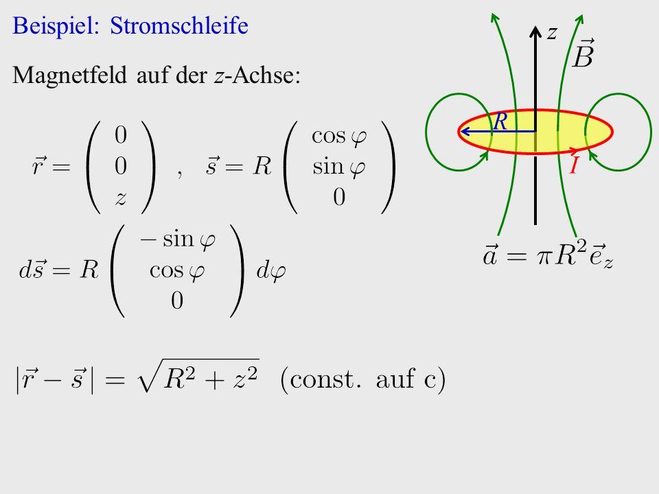 Beispiel: Stromschleife z I R Magnetfeld auf der z-Achse: