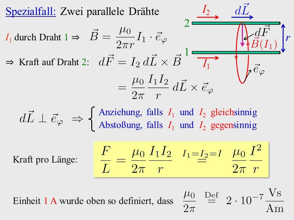 Spezialfall: Zwei parallele Drähte I1I1 I2I2 1 2 r I 1 durch Draht 1 ⇒ ⇒ Kraft auf Draht 2: Anziehung, falls I 1 und I 2 gleichsinnig Abstoßung, falls