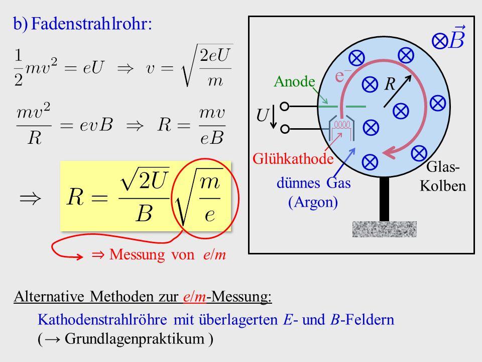 b)Fadenstrahlrohr: ⇒ Messung von e/m Alternative Methoden zur e/m-Messung: Kathodenstrahlröhre mit überlagerten E- und B-Feldern ( → Grundlagenpraktik