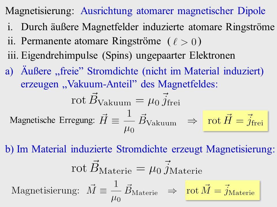 """Magnetisierung: Ausrichtung atomarer magnetischer Dipole i.Durch äußere Magnetfelder induzierte atomare Ringströme ii.Permanente atomare Ringströme ( ) iii.Eigendrehimpulse (Spins) ungepaarter Elektronen a)Äußere """"freie Stromdichte (nicht im Material induziert) erzeugen """"Vakuum-Anteil des Magnetfeldes: Magnetische Erregung: b) Im Material induzierte Stromdichte erzeugt Magnetisierung:"""