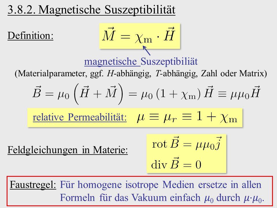 Definition: magnetische Suszeptibiliät (Materialparameter, ggf. H-abhängig, T-abhängig, Zahl oder Matrix) Faustregel:Für homogene isotrope Medien erse