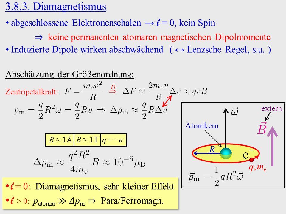 3.8.3. Diamagnetismus abgeschlossene Elektronenschalen → l = 0, kein Spin ⇒ keine permanenten atomaren magnetischen Dipolmomente Induzierte Dipole wir