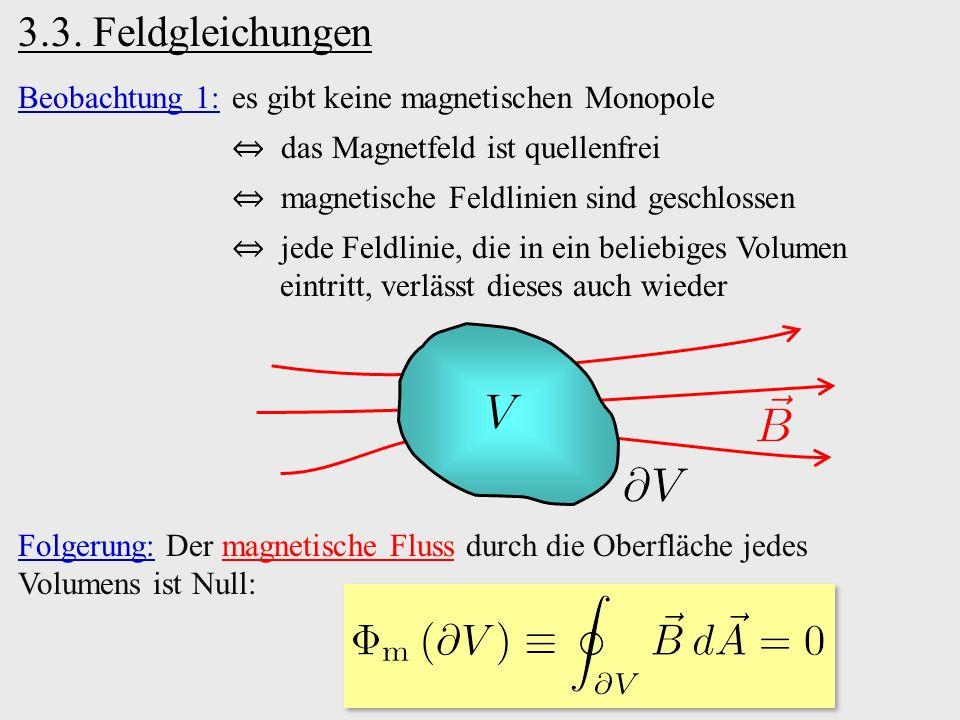 Beobachtung 1:es gibt keine magnetischen Monopole ⇔ das Magnetfeld ist quellenfrei ⇔ magnetische Feldlinien sind geschlossen ⇔ jede Feldlinie, die in