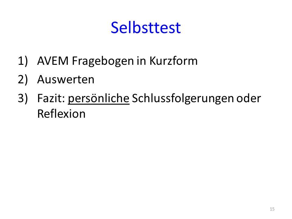 Selbsttest 1)AVEM Fragebogen in Kurzform 2)Auswerten 3)Fazit: persönliche Schlussfolgerungen oder Reflexion 15