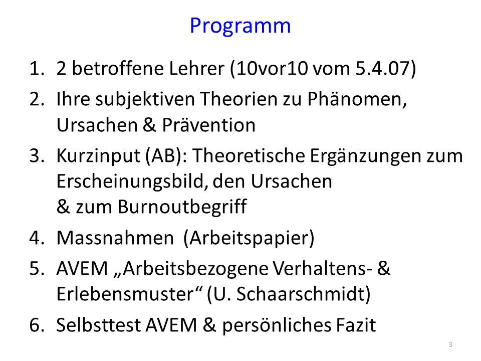 """Arbeitsbezogene Verarbeitungs- und Erlebensmuster (AVEM) """"Potsdamer Lehrpersonenstudie (2006) Titel der Studie: Schaarschmidt, U.: Halbtagsjobber."""