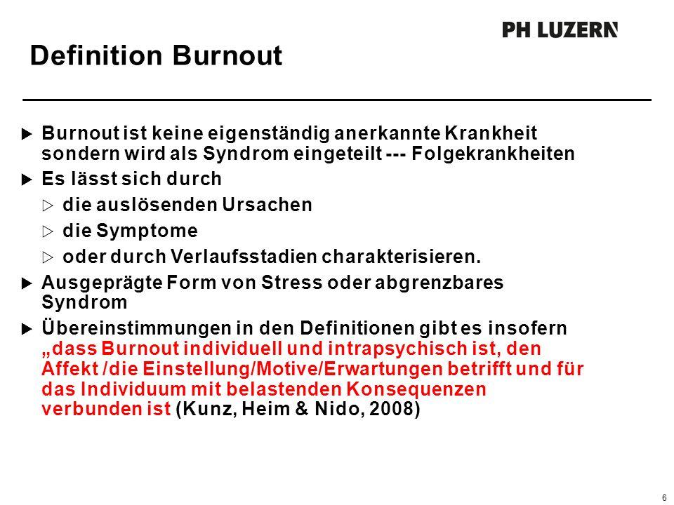 Definition Burnout  Burnout ist keine eigenständig anerkannte Krankheit sondern wird als Syndrom eingeteilt --- Folgekrankheiten  Es lässt sich durch  die auslösenden Ursachen  die Symptome  oder durch Verlaufsstadien charakterisieren.