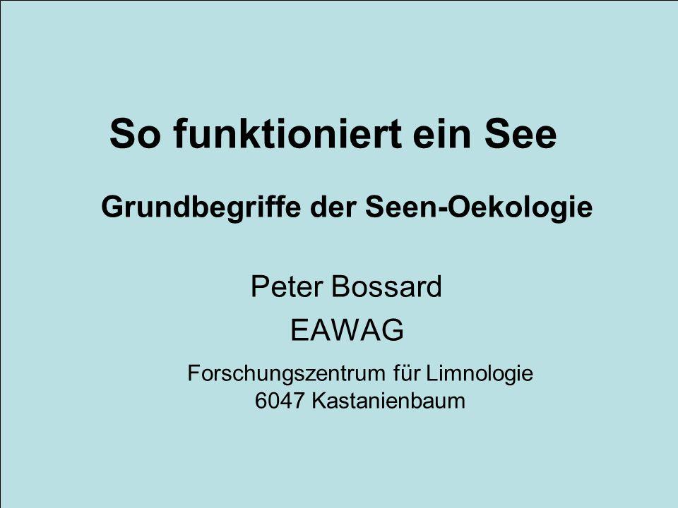 So funktioniert ein See Grundbegriffe der Seen-Oekologie Peter Bossard EAWAG Forschungszentrum für Limnologie 6047 Kastanienbaum