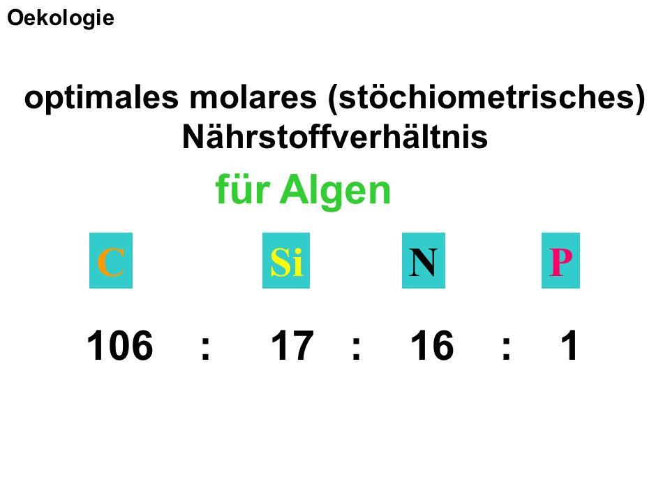 für Algen NPSiC 106 : 17 : 16 : 1 optimales molares (stöchiometrisches) Nährstoffverhältnis Oekologie