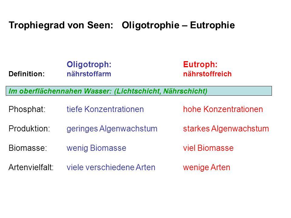 Trophiegrad von Seen: Oligotrophie – Eutrophie Oligotroph:Eutroph: Definition:nährstoffarmnährstoffreich Im oberflächennahen Wasser: (Lichtschicht, Nä