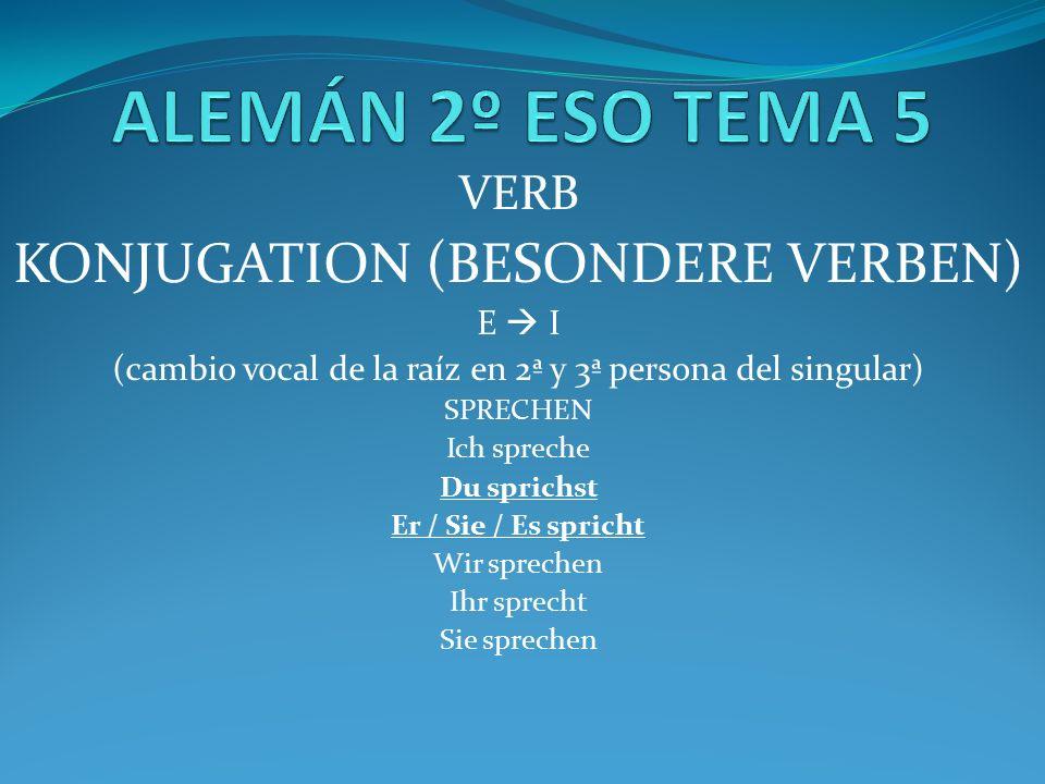 VERB KONJUGATION (BESONDERE VERBEN) E  I (cambio vocal de la raíz en 2ª y 3ª persona del singular) SPRECHEN Ich spreche Du sprichst Er / Sie / Es spricht Wir sprechen Ihr sprecht Sie sprechen