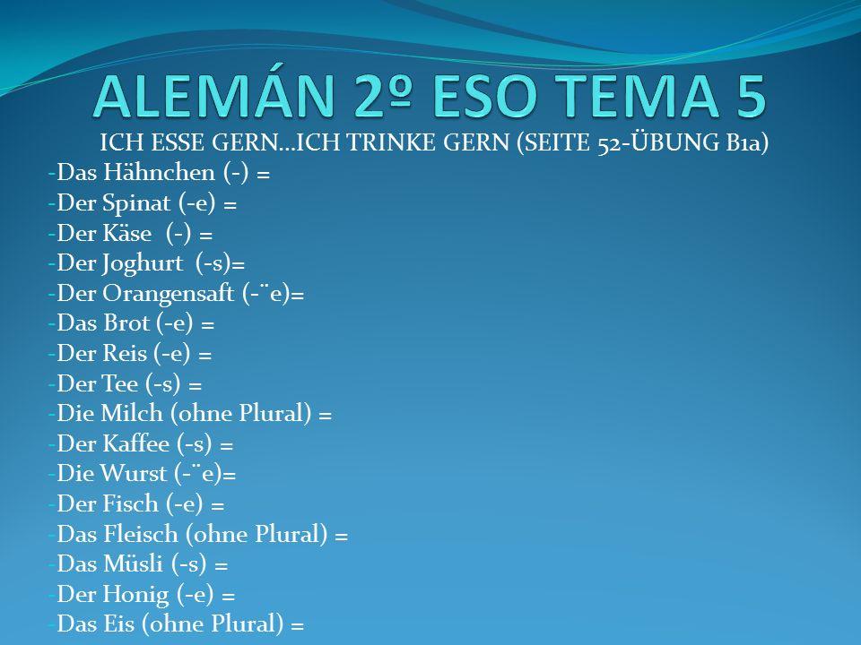 ICH ESSE GERN…ICH TRINKE GERN (SEITE 52-ÜBUNG B1a) LÖSUNGEN - Das Hähnchen (-) = pollo (A) - Der Spinat (-e) = espinaca (G) - Der Käse (-) = queso (K) - Der Joghurt (-s) = yogurt (D) - Der Orangesaft (-¨e) = zumo de naranja (I) - Das Brot (-e) = pan (F) - Der Reis (-e) = arroz (M) - Der Tee (-s) = té (B) - Die Milch (ohne Plural) = leche (E) - Der Kaffee (-s) = café (C) - Die Wurst (-¨e) = salchicha (P) - Der Fisch (-e) = pescado (H) - Das Fleisch (ohne Plural) = carne (N) - Das Müsli (-s) = cereales (J) - Der Honig (-e) = miel (L) - Das Eis (ohne Plural) = helado (O)