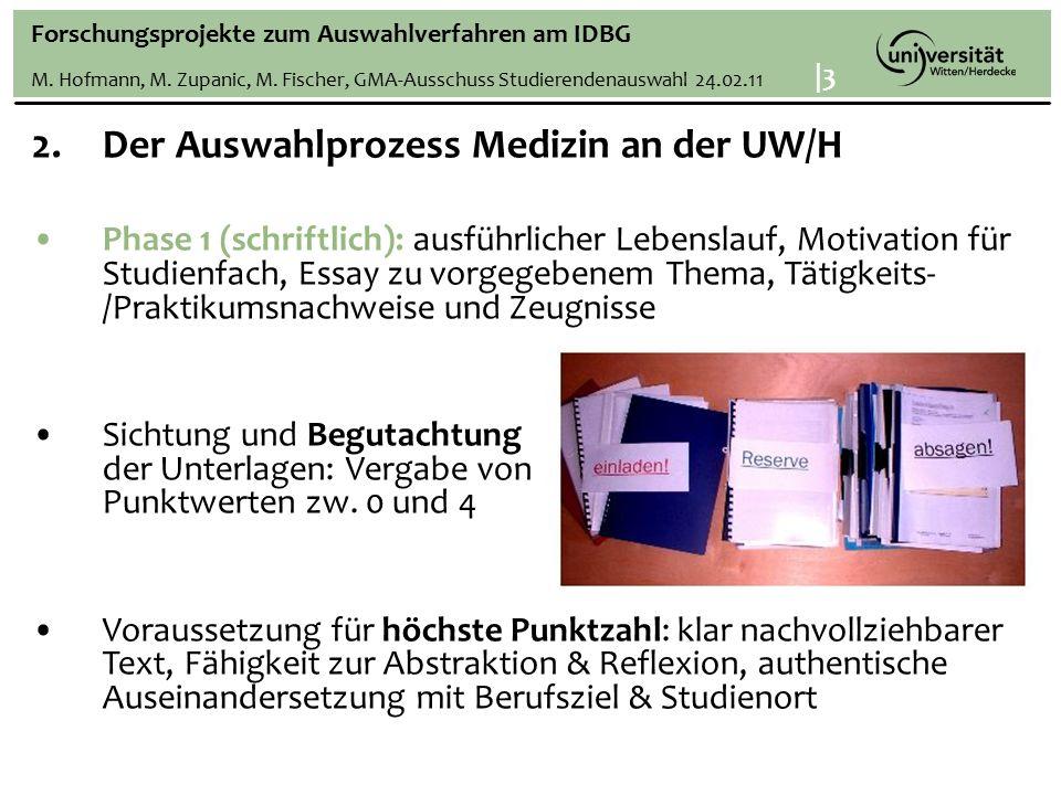 Forschungsprojekte zum Auswahlverfahren am IDBG M.