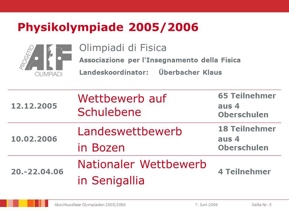 7. Juni 2006Abschlussfeier Olympiaden 2005/2006Seite Nr.