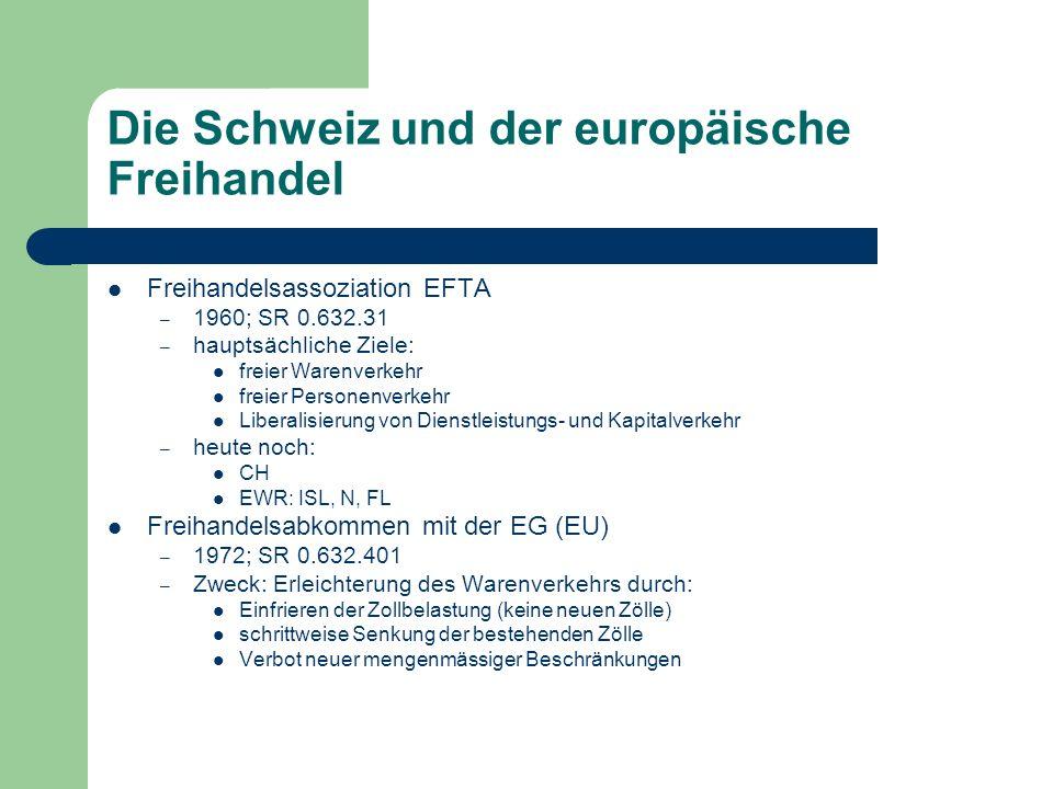Die Schweiz und der europäische Freihandel Freihandelsassoziation EFTA – 1960; SR 0.632.31 – hauptsächliche Ziele: freier Warenverkehr freier Personenverkehr Liberalisierung von Dienstleistungs- und Kapitalverkehr – heute noch: CH EWR: ISL, N, FL Freihandelsabkommen mit der EG (EU) – 1972; SR 0.632.401 – Zweck: Erleichterung des Warenverkehrs durch: Einfrieren der Zollbelastung (keine neuen Zölle) schrittweise Senkung der bestehenden Zölle Verbot neuer mengenmässiger Beschränkungen