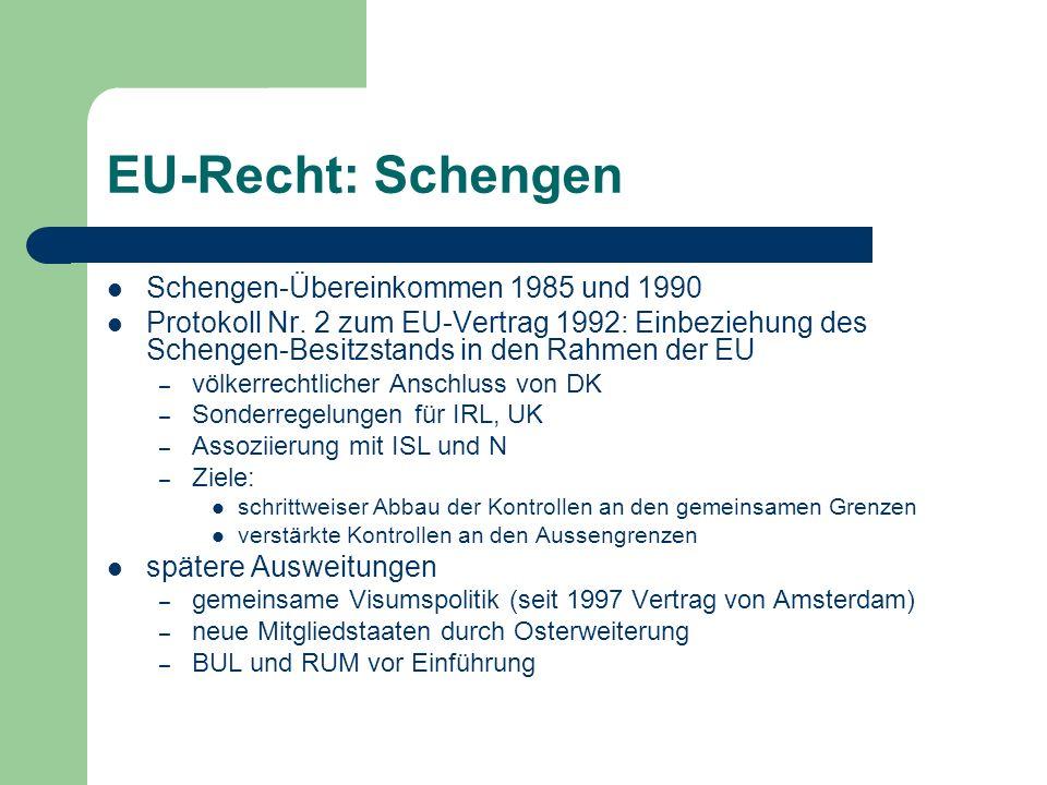 EU-Recht: Schengen Schengen-Übereinkommen 1985 und 1990 Protokoll Nr.
