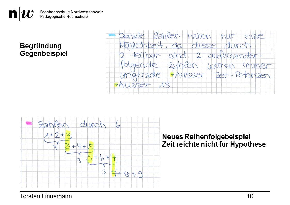 Torsten Linnemann10 Begründung Gegenbeispiel Neues Reihenfolgebeispiel Zeit reichte nicht für Hypothese