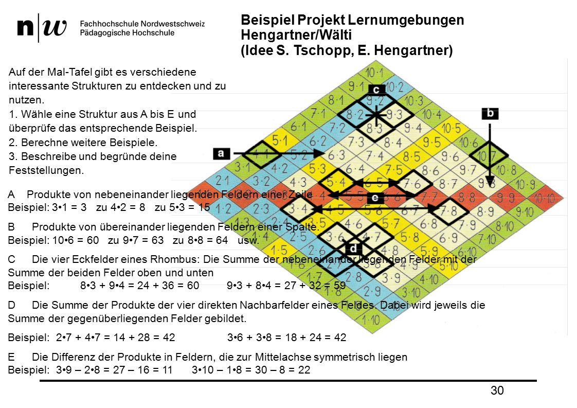 30 Beispiel Projekt Lernumgebungen Hengartner/Wälti (Idee S.
