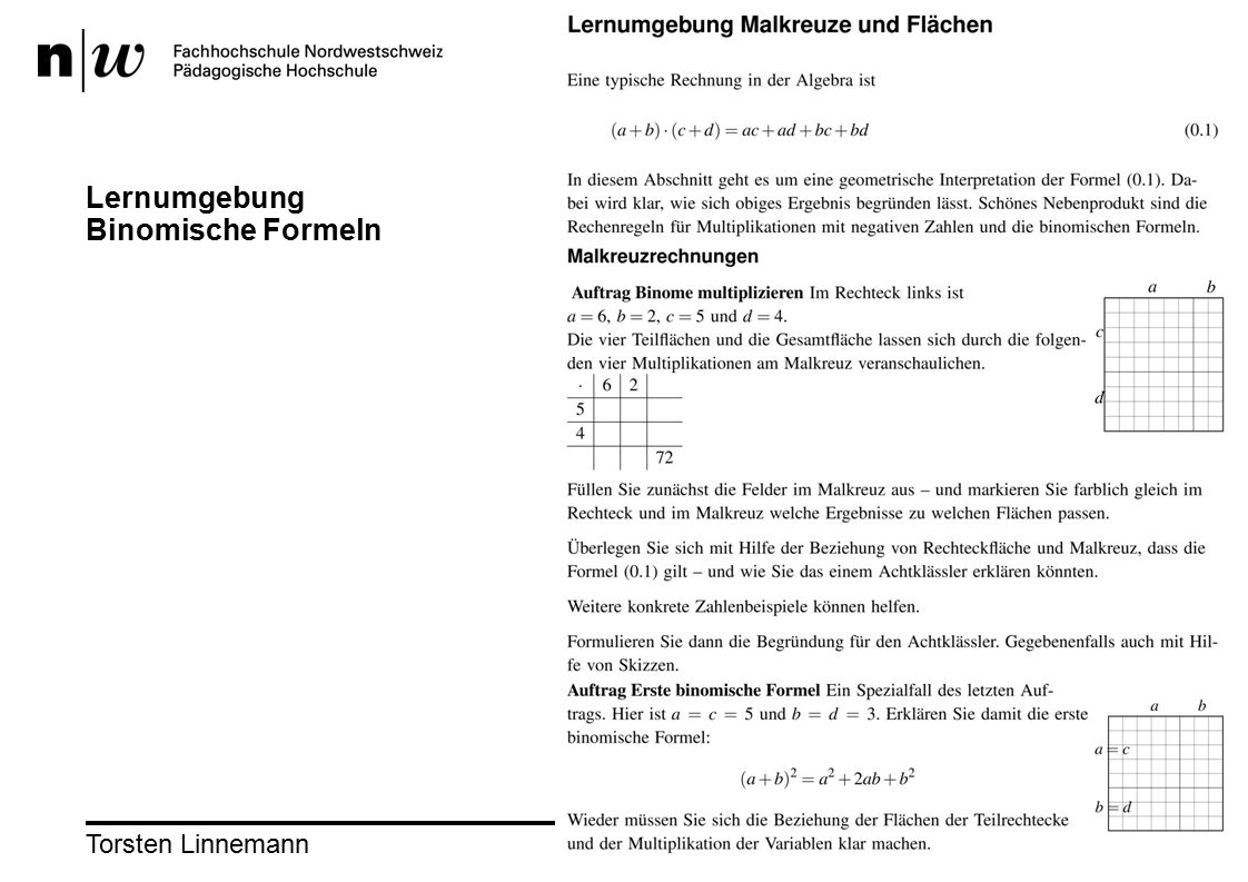 Torsten Linnemann33 Lernumgebung Binomische Formeln
