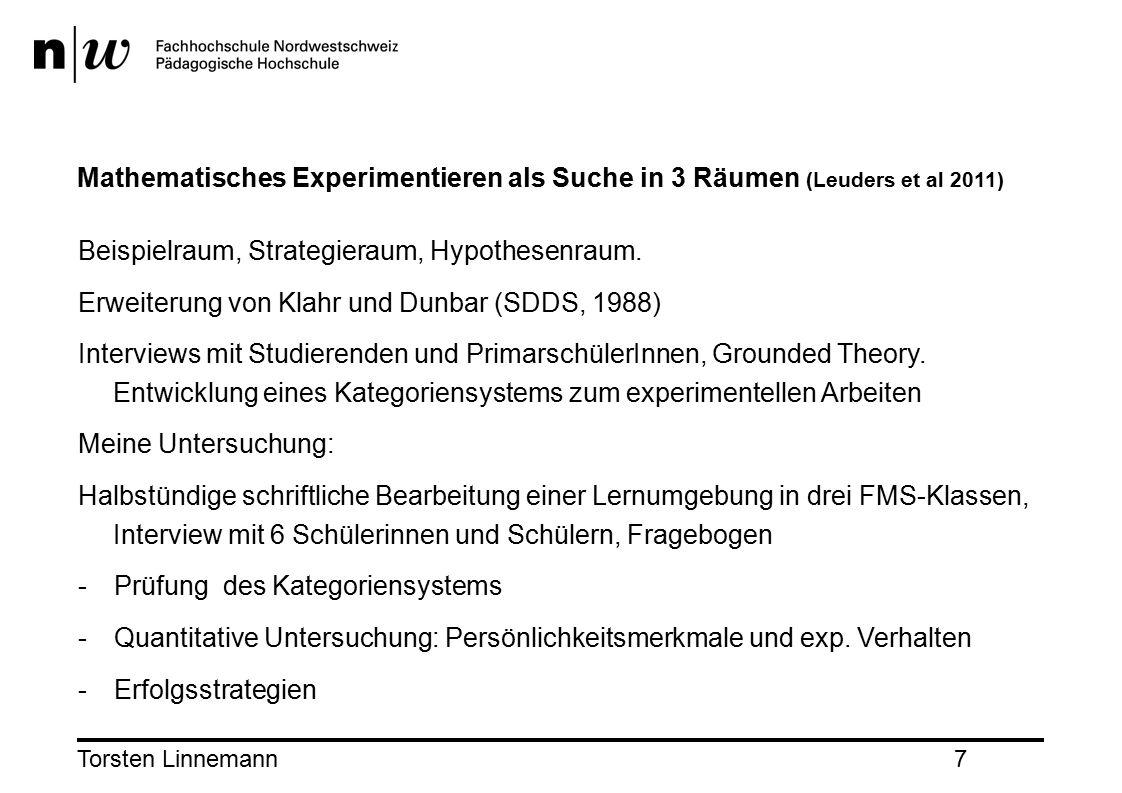 Torsten Linnemann7 Mathematisches Experimentieren als Suche in 3 Räumen (Leuders et al 2011) Beispielraum, Strategieraum, Hypothesenraum.