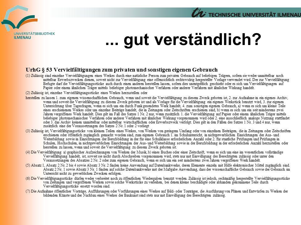 Nutzergruppen in der FL Wissenschaftler, Hochschulen § 53 Abs.