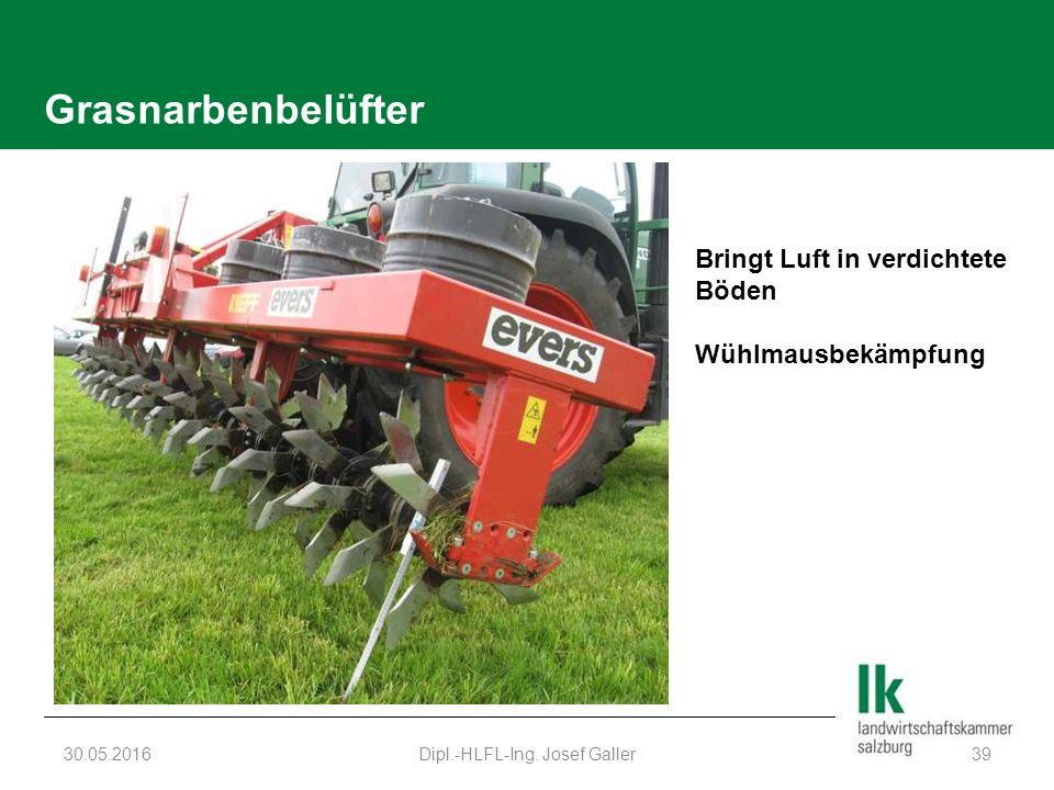 Grasnarbenbelüfter 30.05.2016Dipl.-HLFL-Ing. Josef Galler39 Bringt Luft in verdichtete Böden Wühlmausbekämpfung