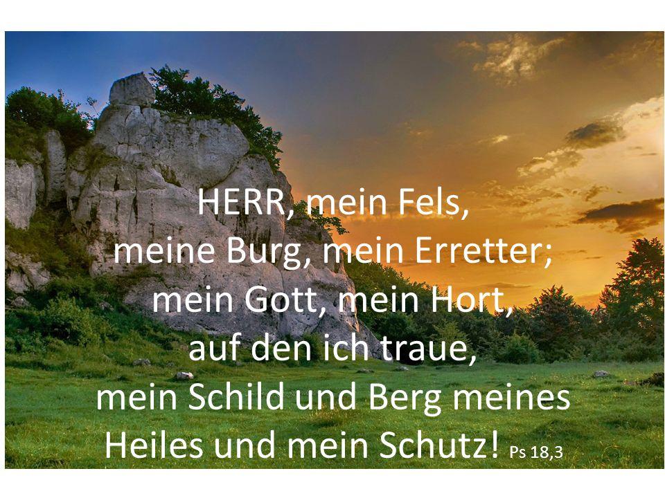 HERR, mein Fels, meine Burg, mein Erretter; mein Gott, mein Hort, auf den ich traue, mein Schild und Berg meines Heiles und mein Schutz! Ps 18,3