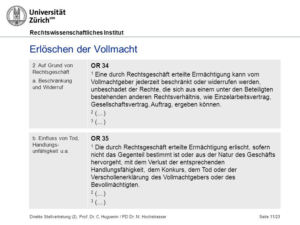 Rechtswissenschaftliches Institut Erlöschen der Vollmacht Seite 11/23 2.