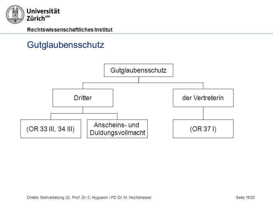 Rechtswissenschaftliches Institut Seite 19/23 Gutglaubensschutz Dritterder Vertreterin Direkte Stellvertretung (2), Prof.