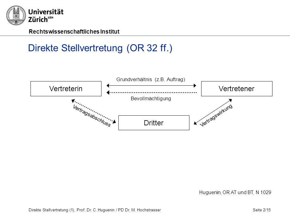 Rechtswissenschaftliches Institut Seite 2/15 Huguenin, OR AT und BT, N 1029 Direkte Stellvertretung (OR 32 ff.) Grundverhältnis (z.B.