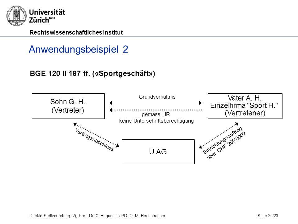 Rechtswissenschaftliches Institut Seite 25/23 Anwendungsbeispiel 2 Grundverhältnis gemäss HR keine Unterschriftsberechtigung Vertragsabschluss Einrichtungsauftrag über CHF 200'000.