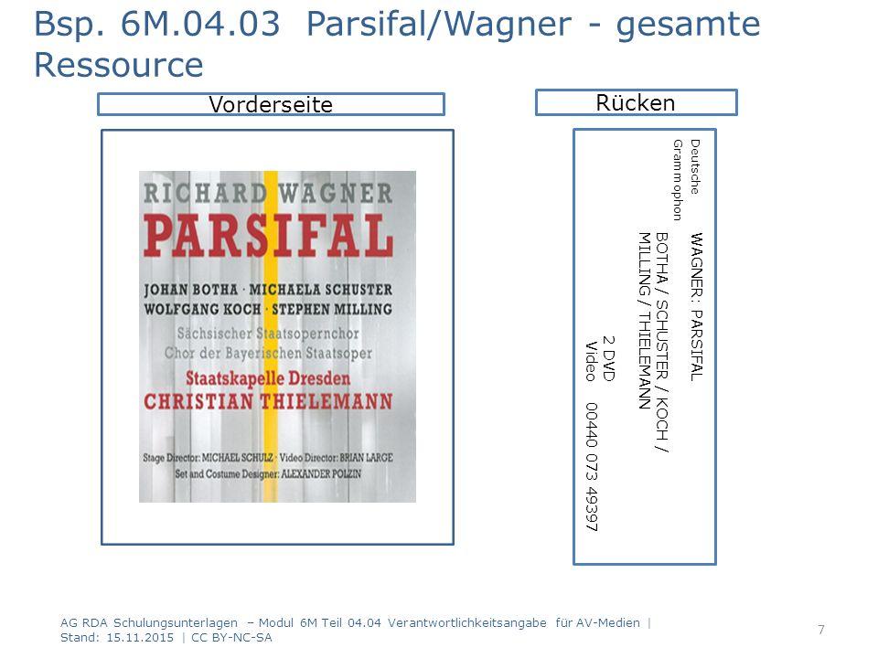 AG RDA Schulungsunterlagen – Modul 6M Teil 04.04 Verantwortlichkeitsangabe für AV-Medien | Stand: 15.11.2015 | CC BY-NC-SA Vorderseite Bsp.