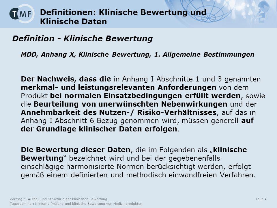 Vortrag 2: Aufbau und Struktur einer klinischen Bewertung Tagesseminar: Klinische Prüfung und klinische Bewertung von Medizinprodukten Folie 4 Definitionen: Klinische Bewertung und Klinische Daten Definition - Klinische Bewertung MDD, Anhang X, Klinische Bewertung, 1.