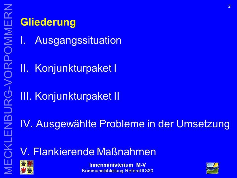 Innenministerium M-V Kommunalabteilung, Referat II 330 MECKLENBURG-VORPOMMERN 2 Gliederung I.Ausgangssituation II.