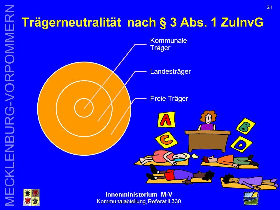 Innenministerium M-V Kommunalabteilung, Referat II 330 MECKLENBURG-VORPOMMERN 21 Trägerneutralität nach § 3 Abs.
